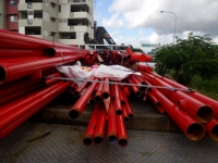 Red steel pipes
