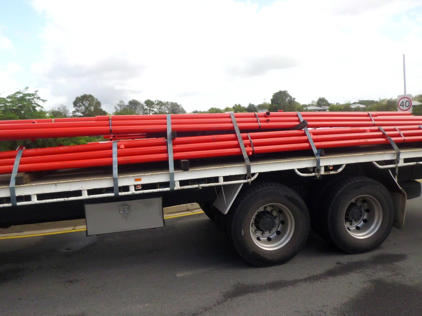 Red metal pipes